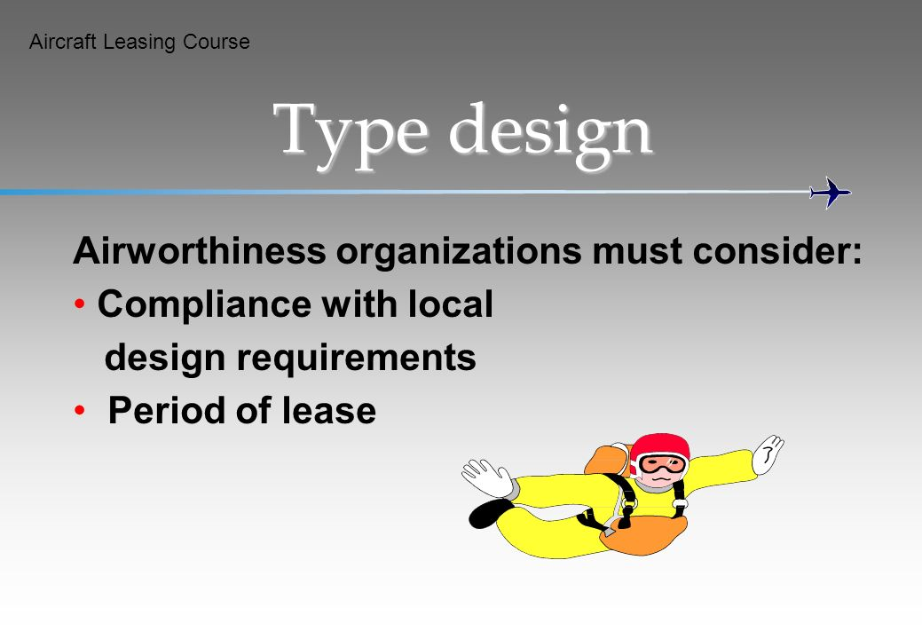 Type design Airworthiness organizations must consider:
