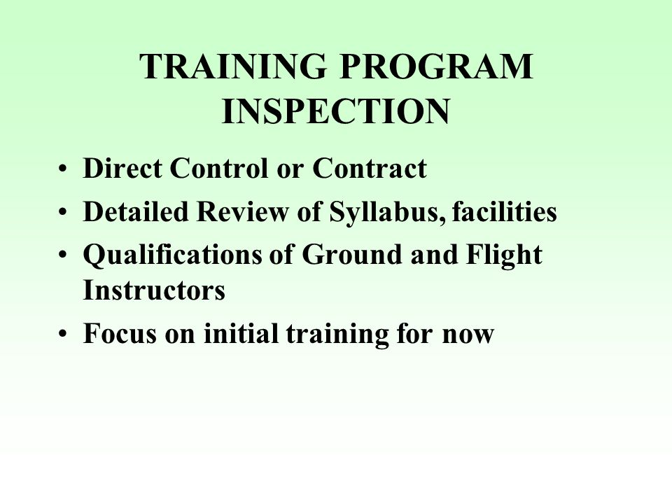 TRAINING PROGRAM INSPECTION