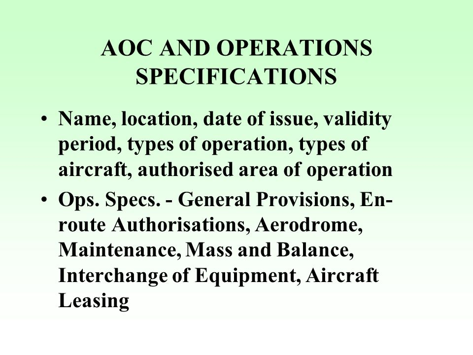 AOC AND OPERATIONS SPECIFICATIONS