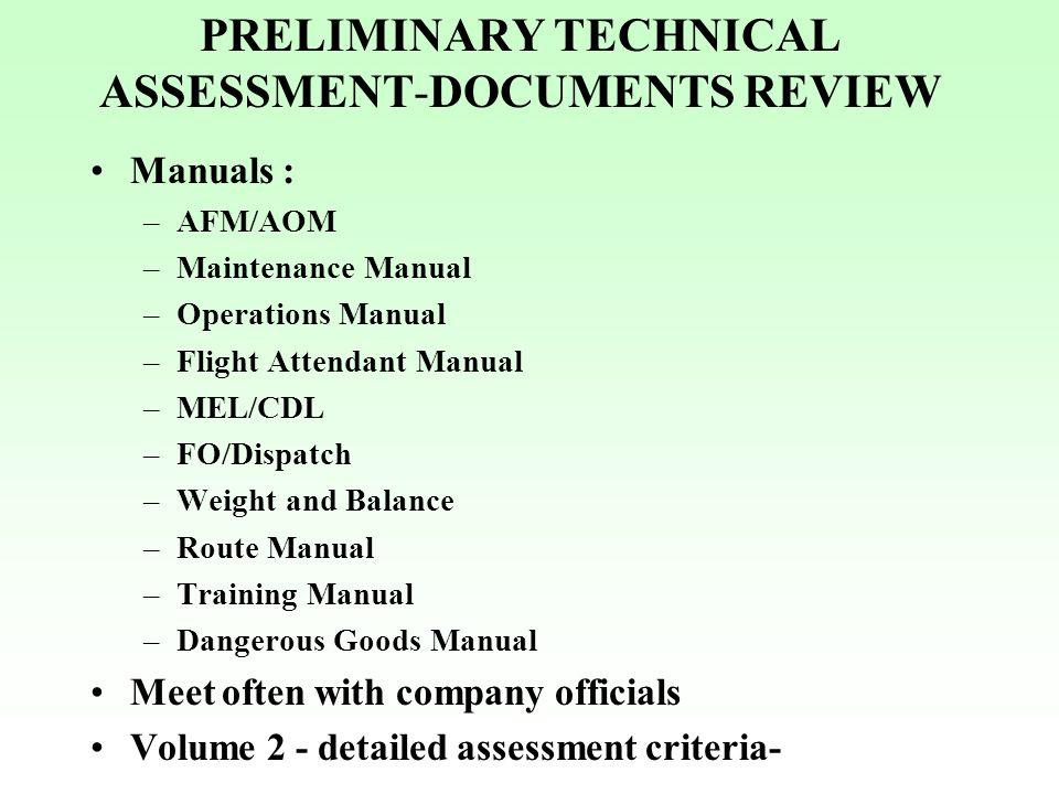 PRELIMINARY TECHNICAL ASSESSMENT-DOCUMENTS REVIEW