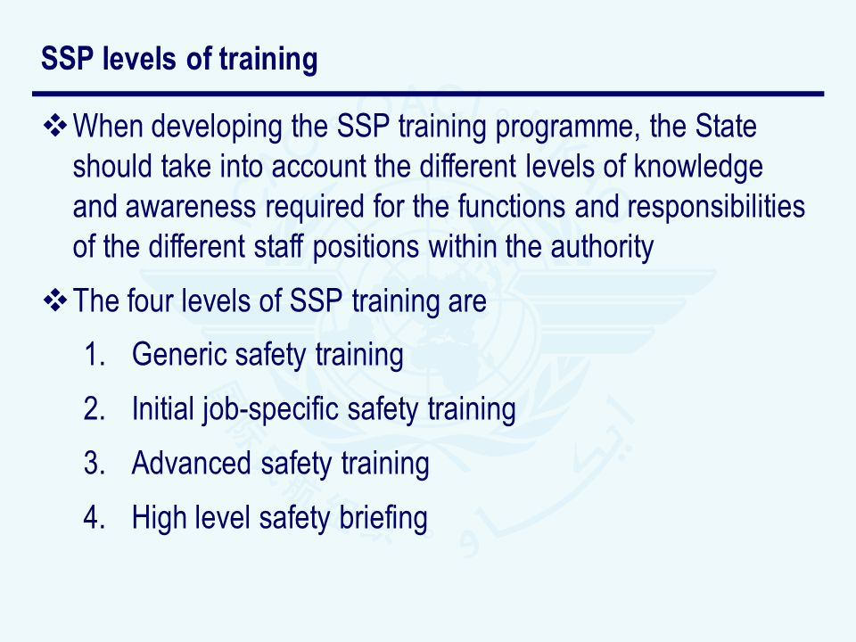 SSP levels of training
