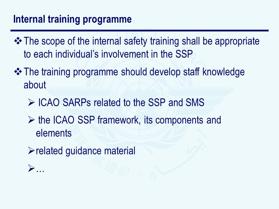 Internal training programme