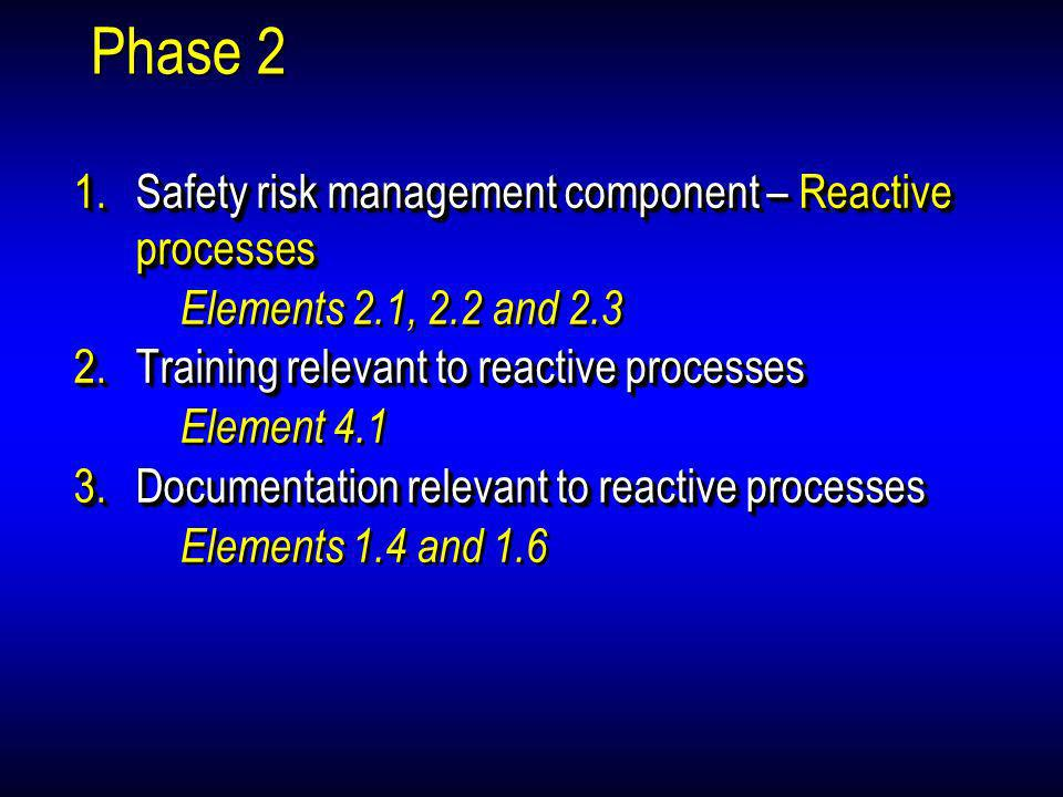 Phase 2 Safety risk management component – Reactive processes