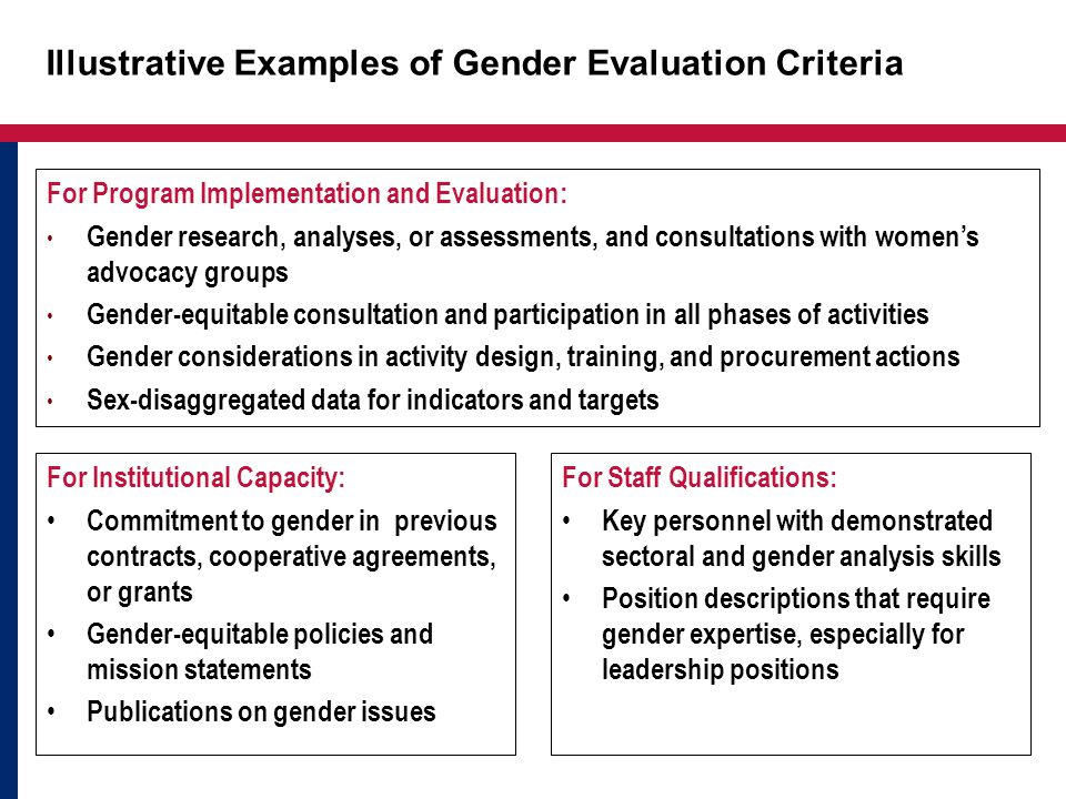 Illustrative Examples of Gender Evaluation Criteria