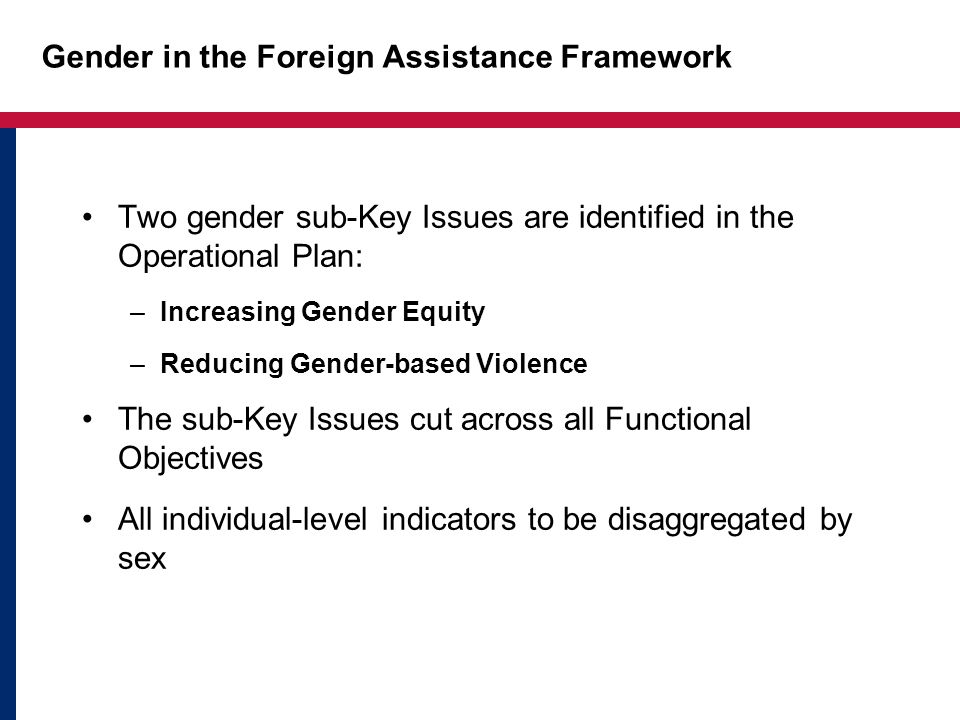 Gender in the Foreign Assistance Framework
