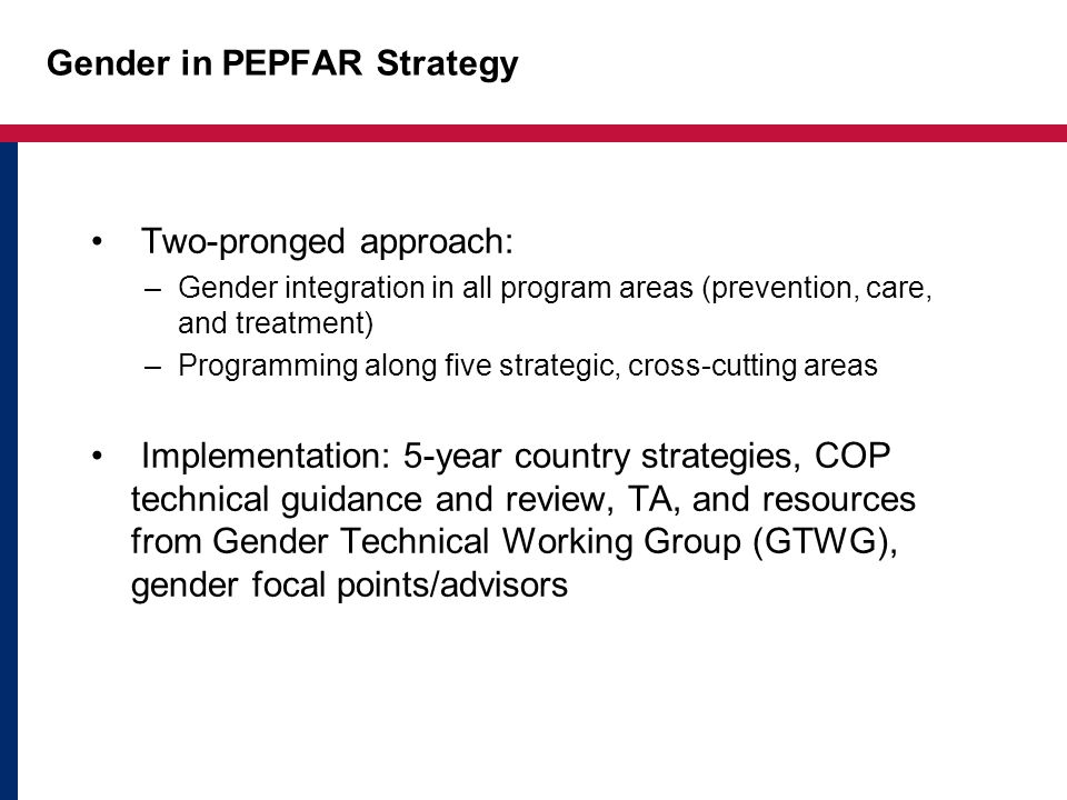 Gender in PEPFAR Strategy