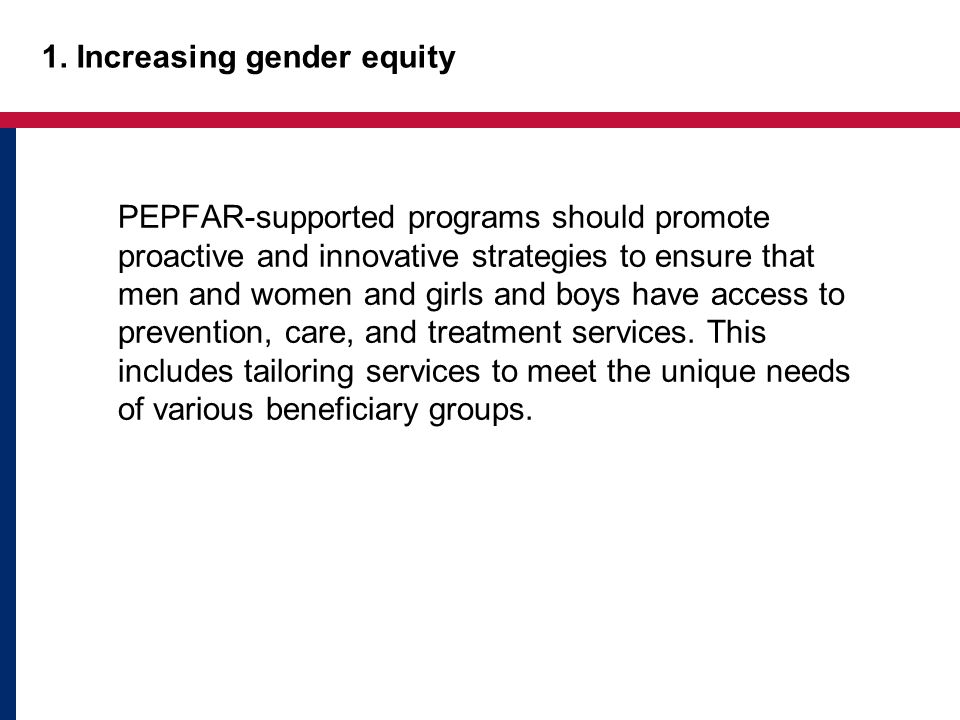 1. Increasing gender equity