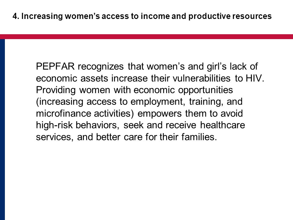 4. Increasing women's access to income and productive resources