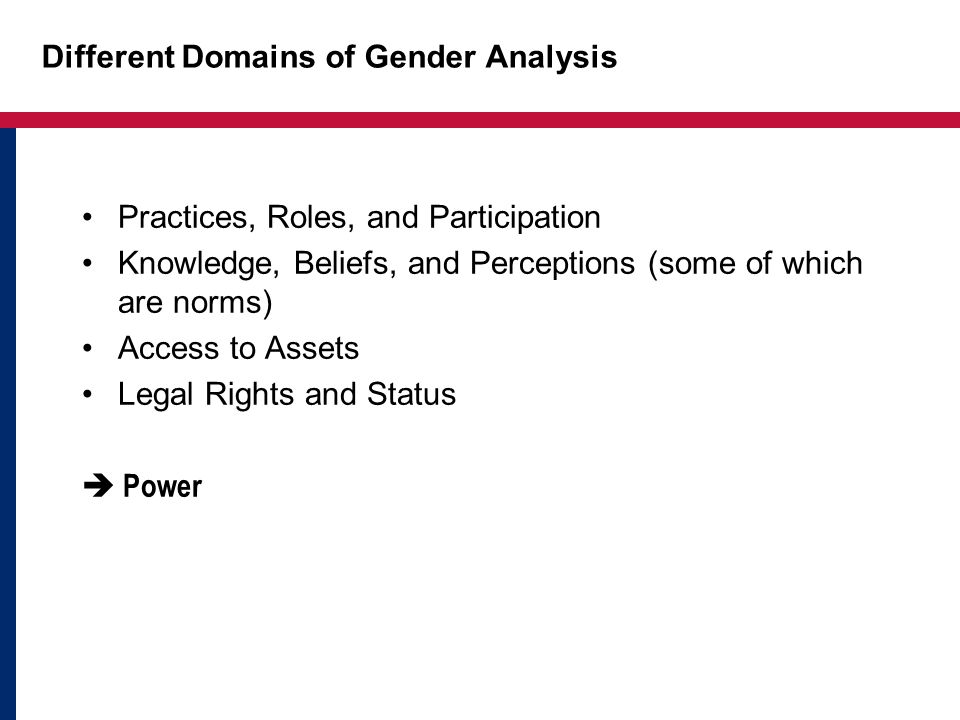 Different Domains of Gender Analysis