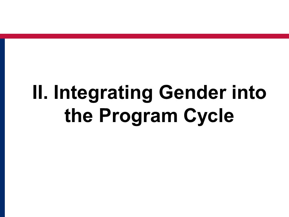 II. Integrating Gender into the Program Cycle