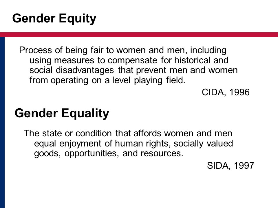 Gender Equity Gender Equality
