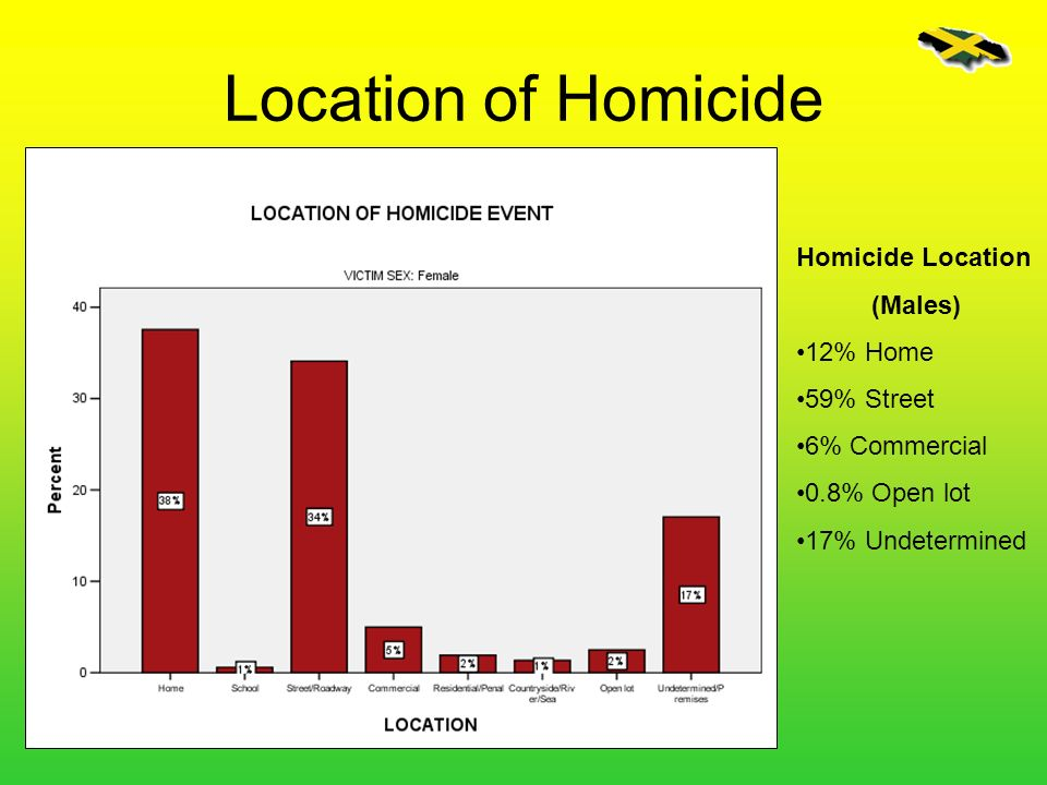 Location of Homicide Homicide Location (Males) 12% Home 59% Street