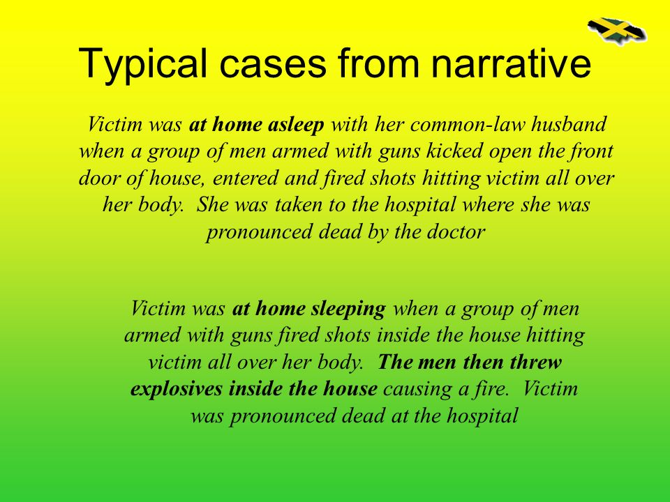 Typical cases from narrative