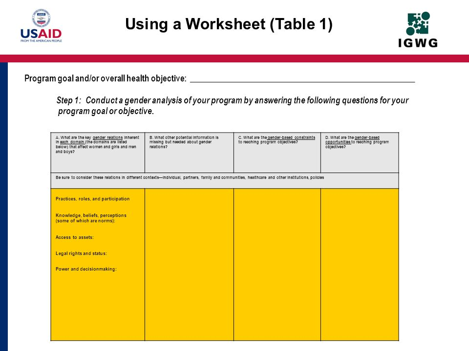 Using a Worksheet (Table 1)