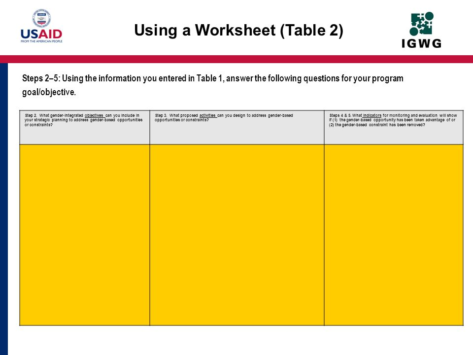 Using a Worksheet (Table 2)