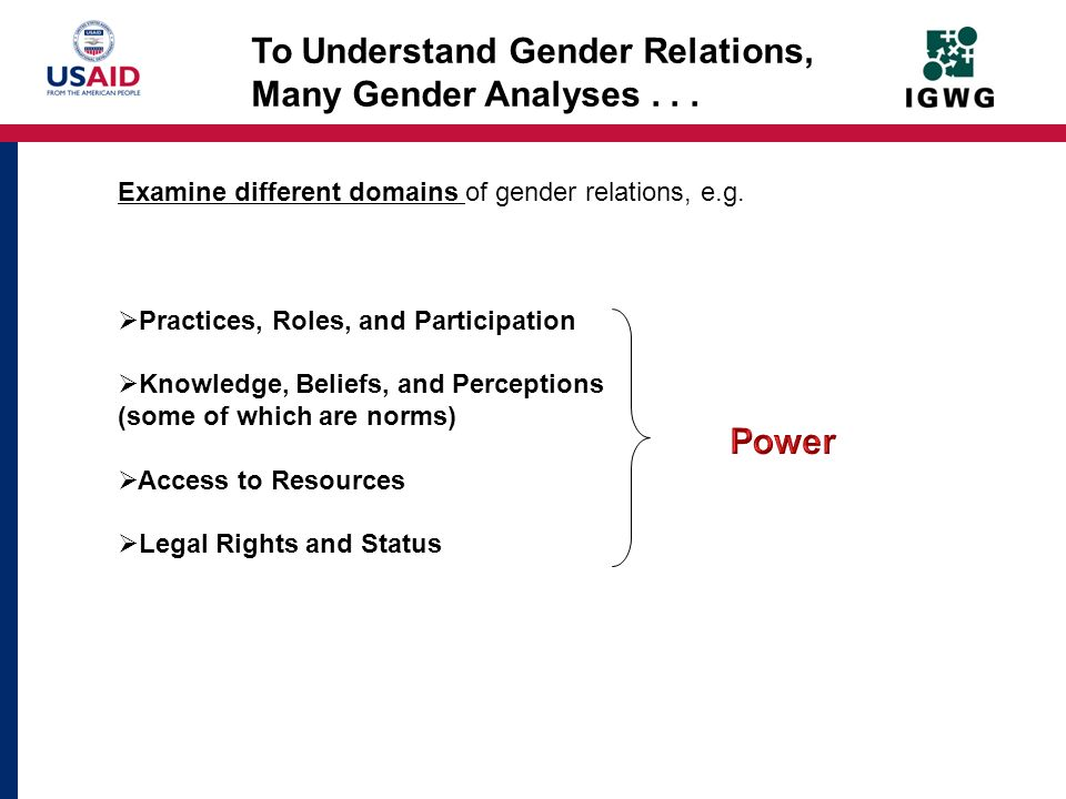 To Understand Gender Relations, Many Gender Analyses . . .