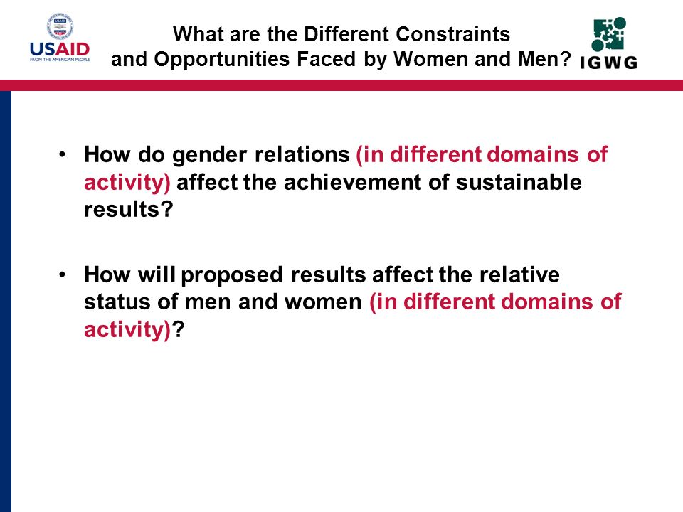 What are the Different Constraints and Opportunities Faced by Women and Men