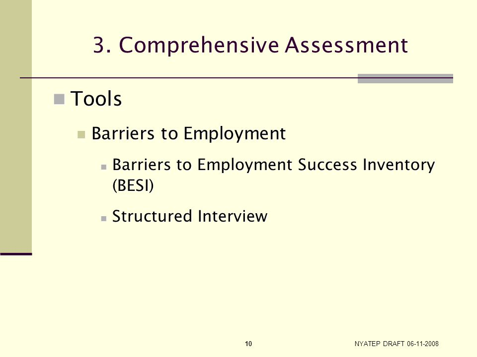 3. Comprehensive Assessment