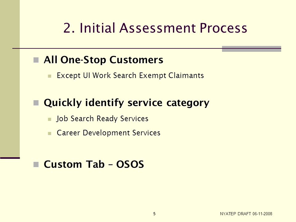2. Initial Assessment Process