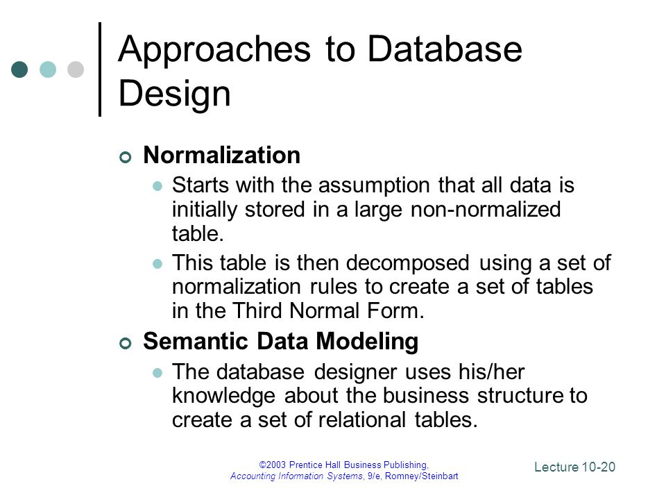 Approaches to Database Design