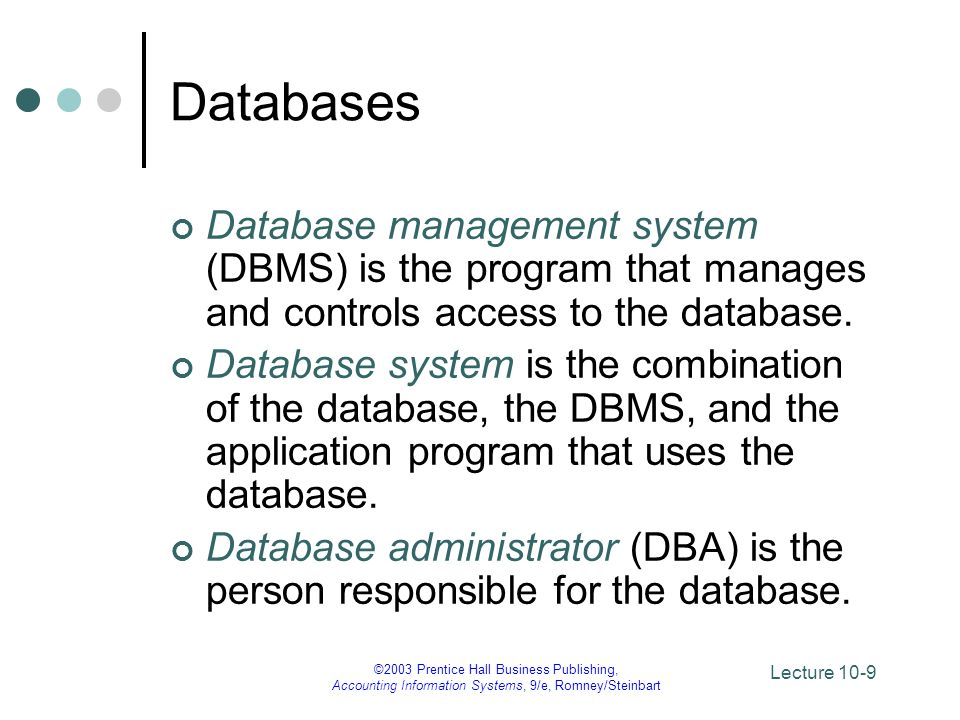 Databases Database management system (DBMS) is the program that manages and controls access to the database.