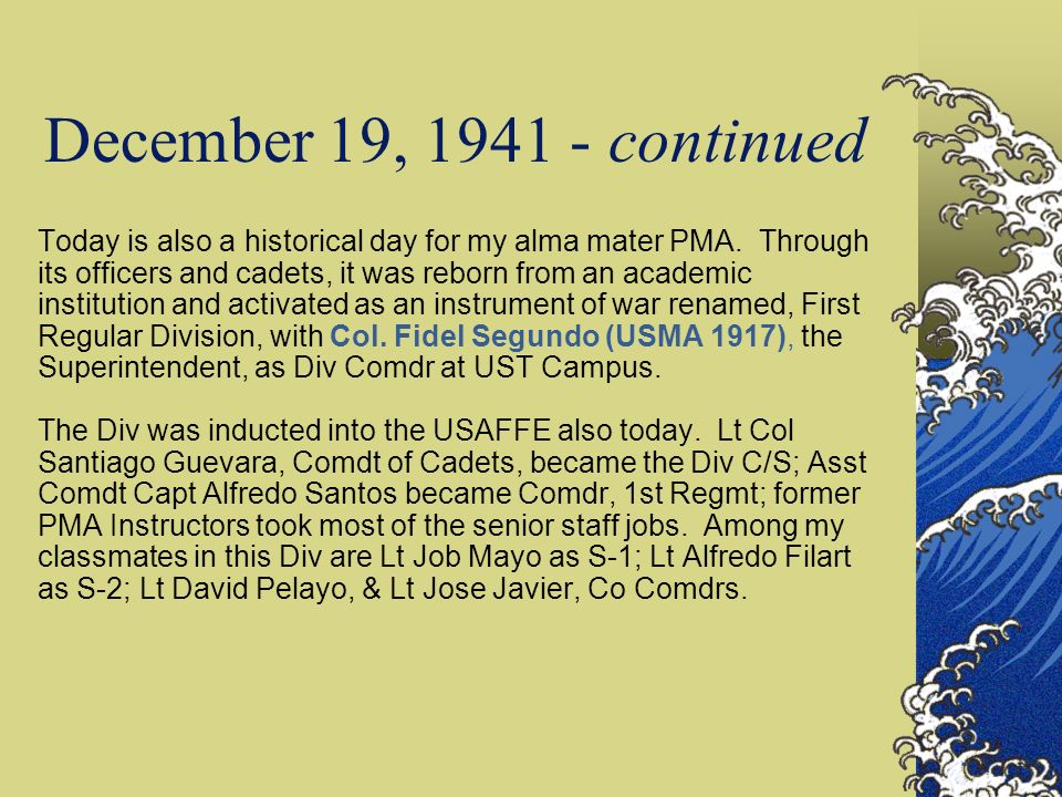 December 19, 1941 - continued