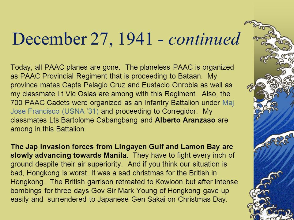 December 27, 1941 - continued
