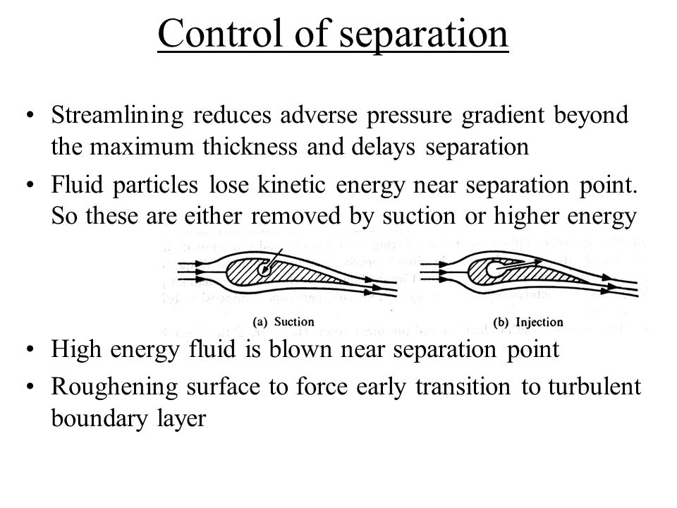 Control of separation Streamlining reduces adverse pressure gradient beyond the maximum thickness and delays separation.