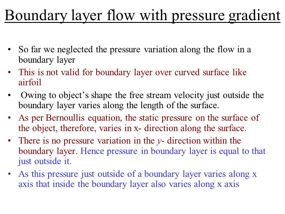 Boundary layer flow with pressure gradient
