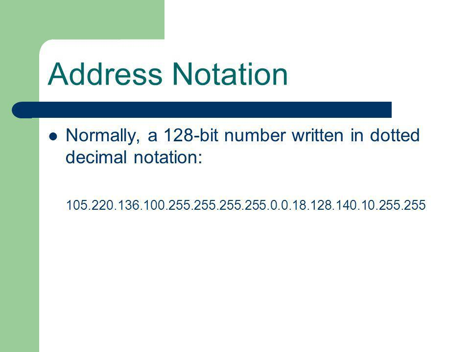 Address Notation Normally, a 128-bit number written in dotted decimal notation: 105.220.136.100.255.255.255.255.0.0.18.128.140.10.255.255.