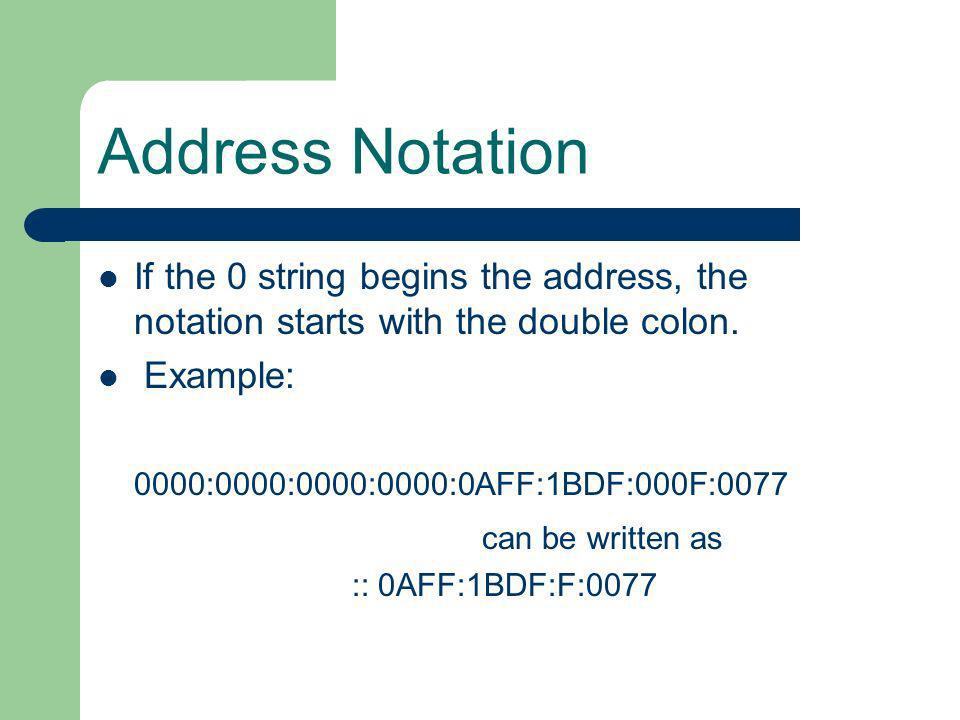 Address Notation If the 0 string begins the address, the notation starts with the double colon. Example:
