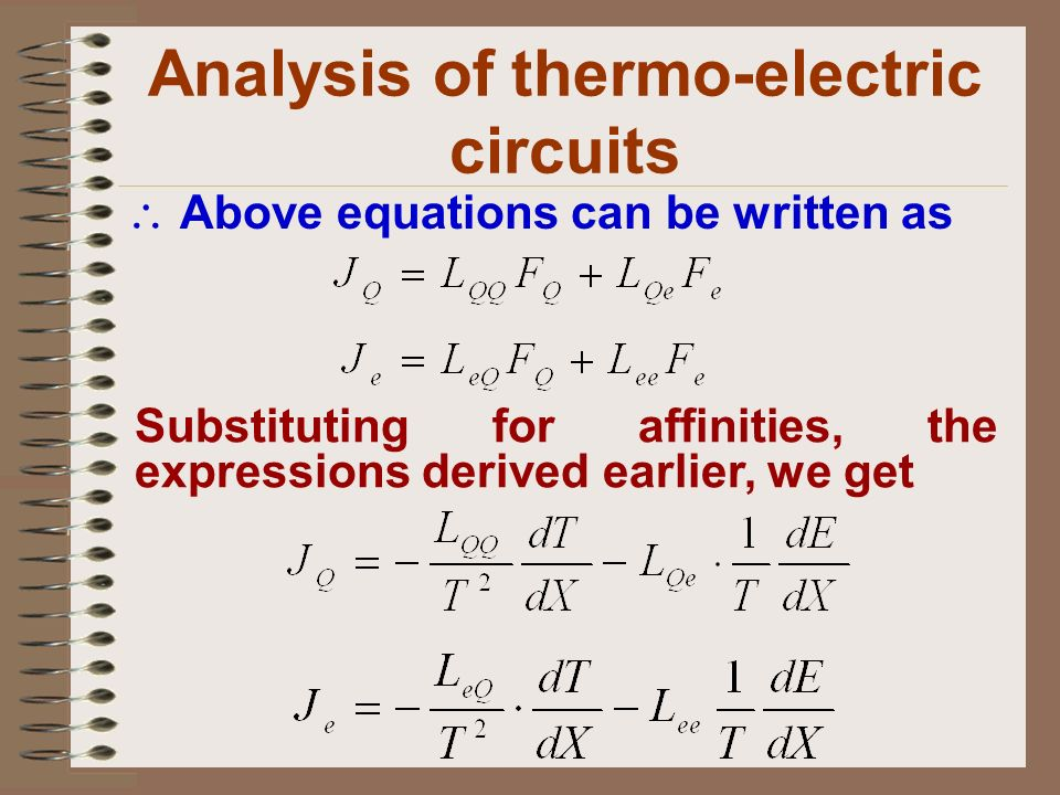 Analysis of thermo-electric circuits