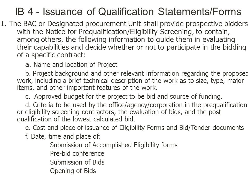 IB 4 - Issuance of Qualification Statements/Forms