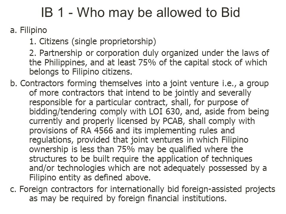IB 1 - Who may be allowed to Bid