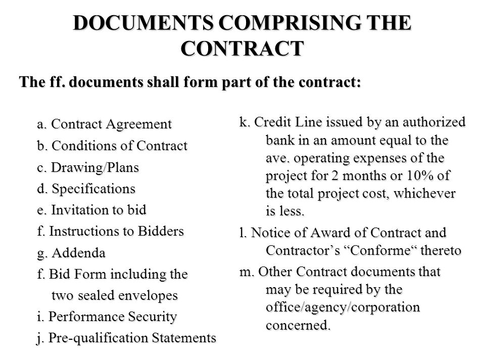 DOCUMENTS COMPRISING THE CONTRACT