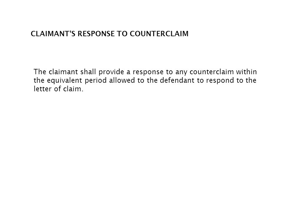 CLAIMANT S RESPONSE TO COUNTERCLAIM
