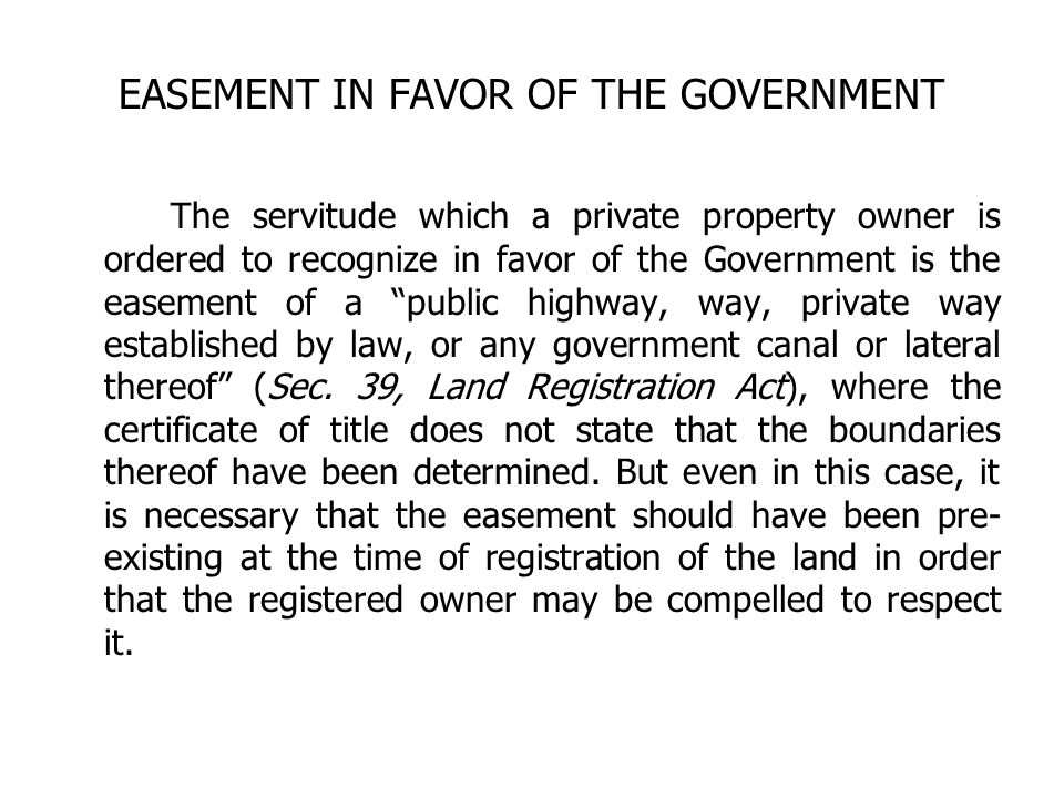 EASEMENT IN FAVOR OF THE GOVERNMENT