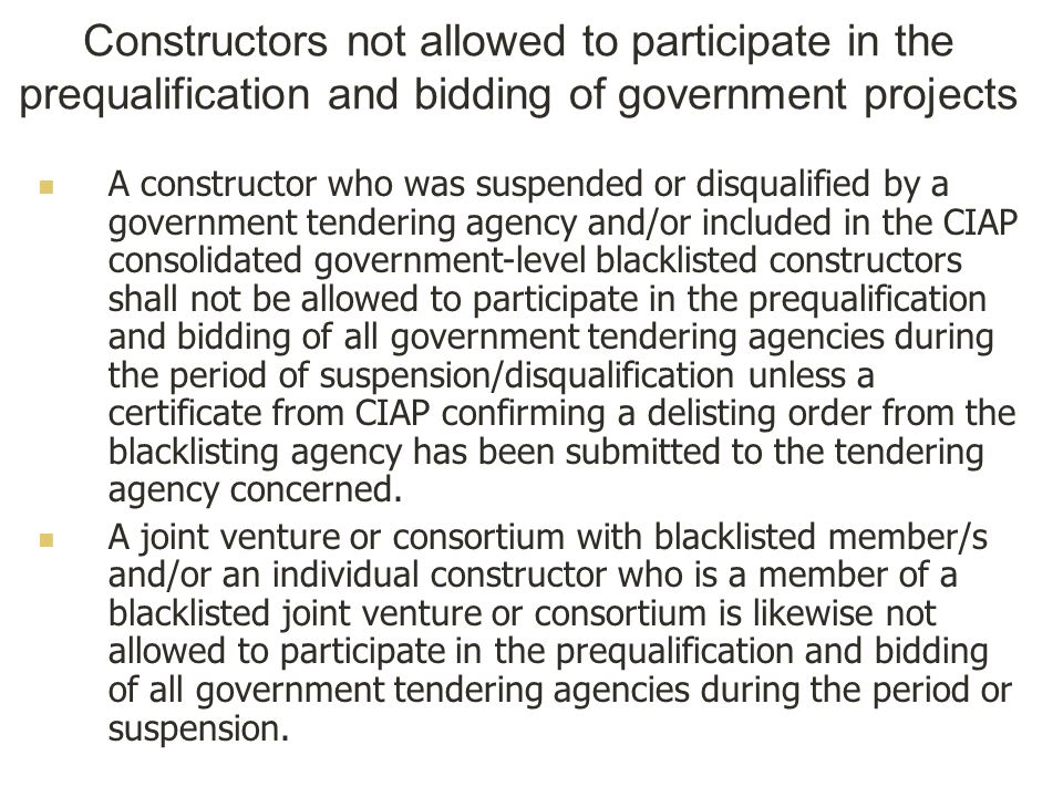 Constructors not allowed to participate in the prequalification and bidding of government projects