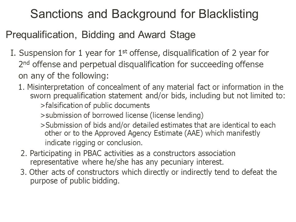 Sanctions and Background for Blacklisting