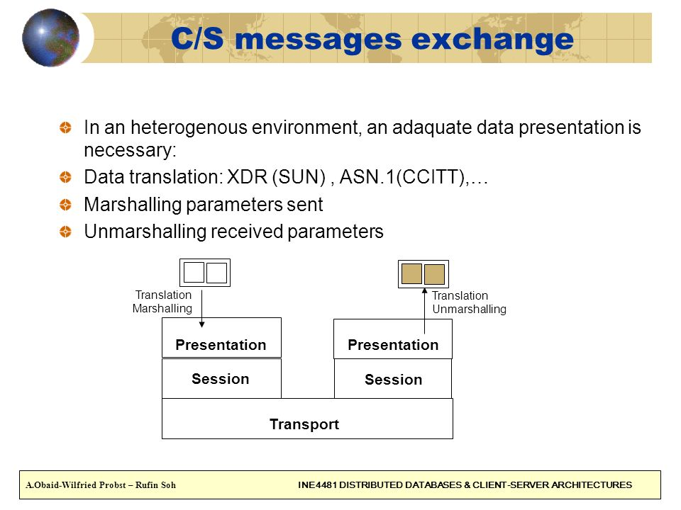 C/S messages exchange In an heterogenous environment, an adaquate data presentation is necessary: Data translation: XDR (SUN) , ASN.1(CCITT),…