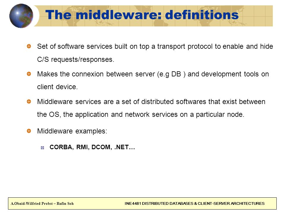The middleware: definitions