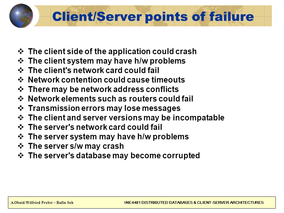 Client/Server points of failure