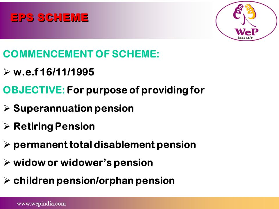 EPS SCHEME COMMENCEMENT OF SCHEME: w.e.f 16/11/1995