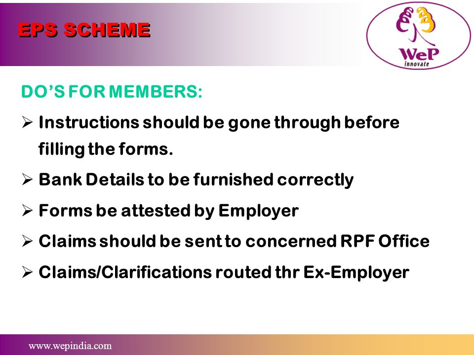 EPS SCHEME DO'S FOR MEMBERS: