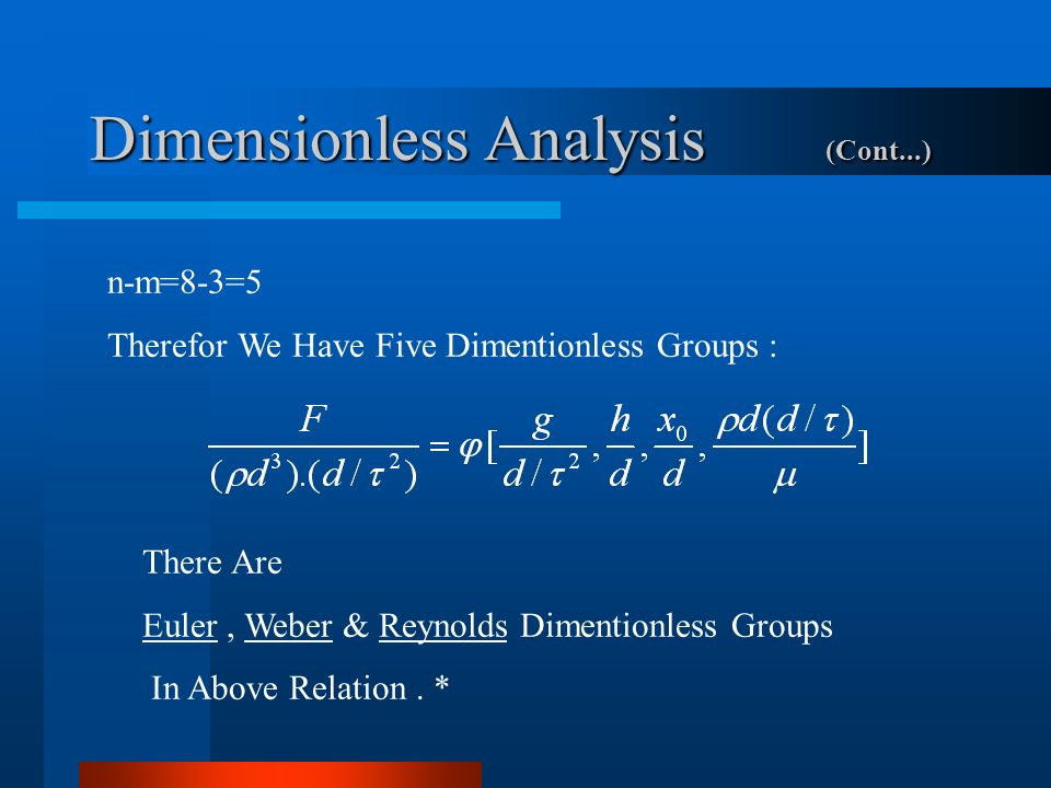 Dimensionless Analysis (Cont...)