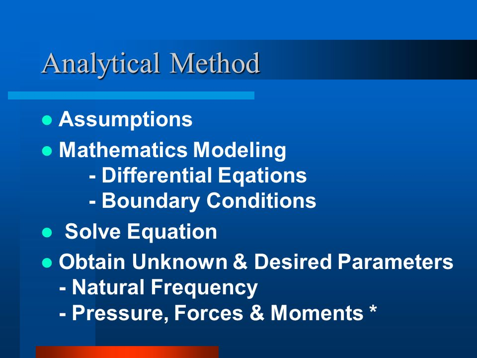 Analytical Method Assumptions