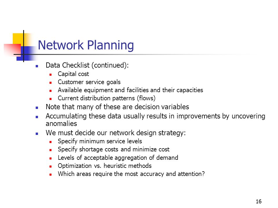 Network Planning Data Checklist (continued):