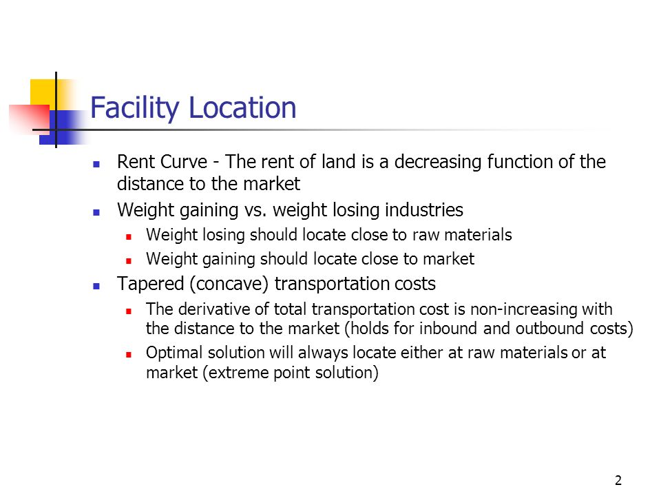 Facility Location Rent Curve - The rent of land is a decreasing function of the distance to the market.