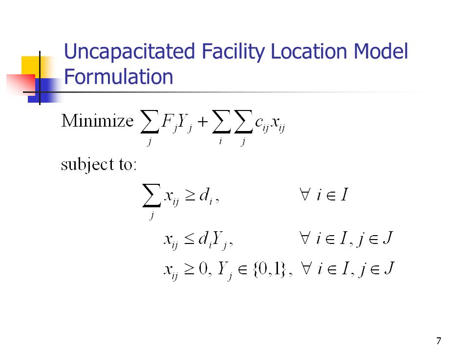 Uncapacitated Facility Location Model Formulation