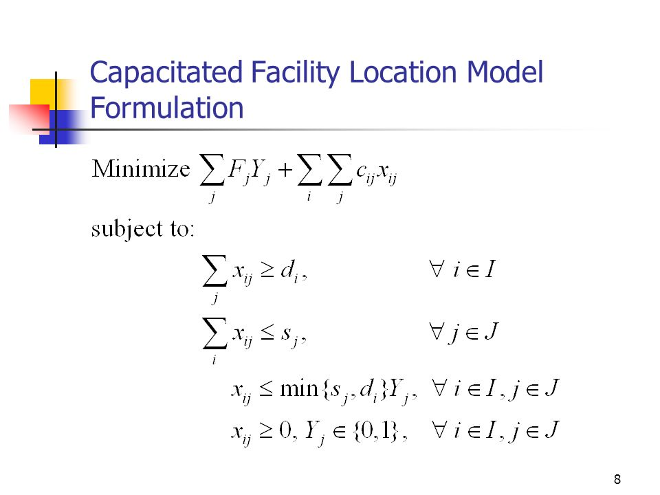 Capacitated Facility Location Model Formulation